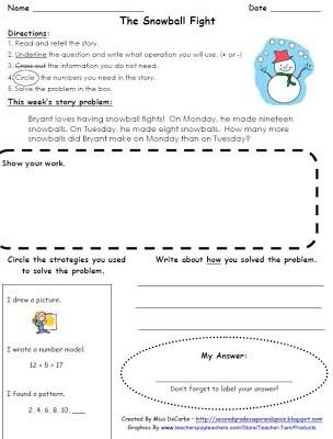 Winter Math Story Problem FREEBIE!