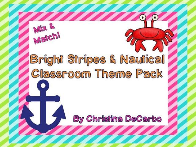 Bright Stripes & Nautical Classroom Theme Set