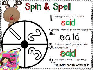 Spin & Spell Christmas: Word Work Freebie!
