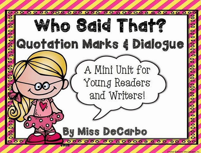 Who Said That Dialogue And Quotation Mark Unit For Readers. I Created This Dialogue Unit For Primary Students Specifically Grades 1 And 2 However Yesterday Had A Third Grade Teacher Tell Me It Would Work. Third Grade. Quotation Marks Worksheet Third Grade At Clickcart.co
