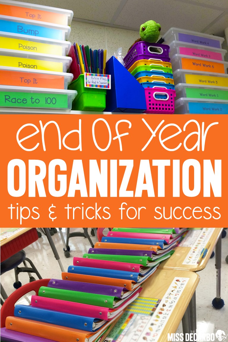 Find out how to get organized at the end of the year so that your transition back to school in the fall is smooth and stress-free! This blog post is packed with tons of classroom organization ideas, tips, and tricks!