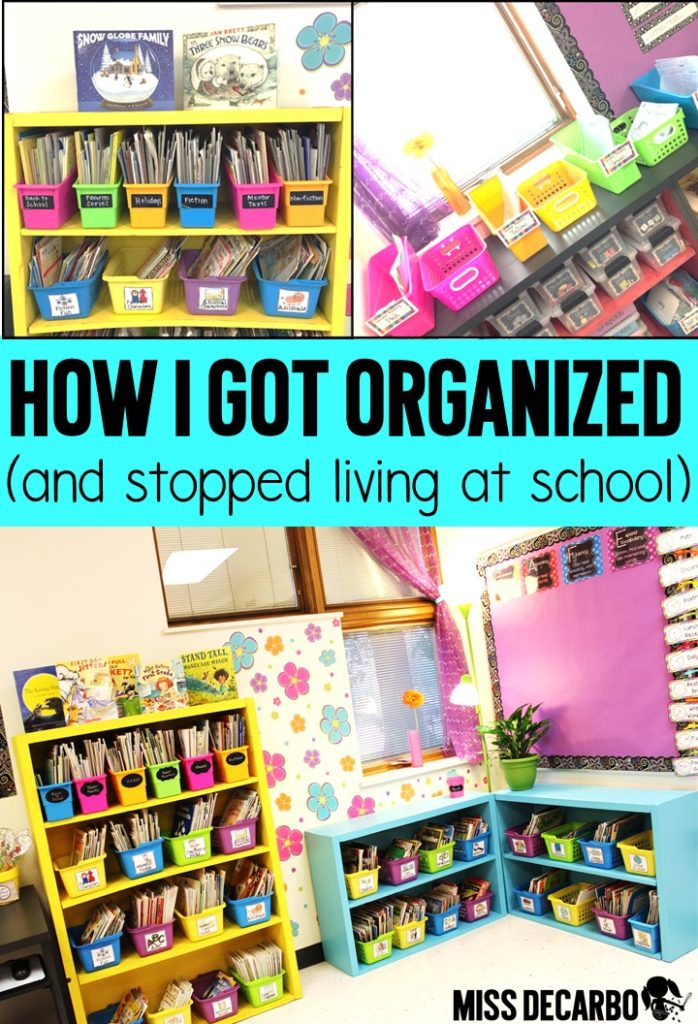 Learn how I got organized with lesson planning and streamlined my weekly routine. This post has tips and tricks to maximize your time at school so that you can spend more time at home with your family. This is must-read post for classroom organization!