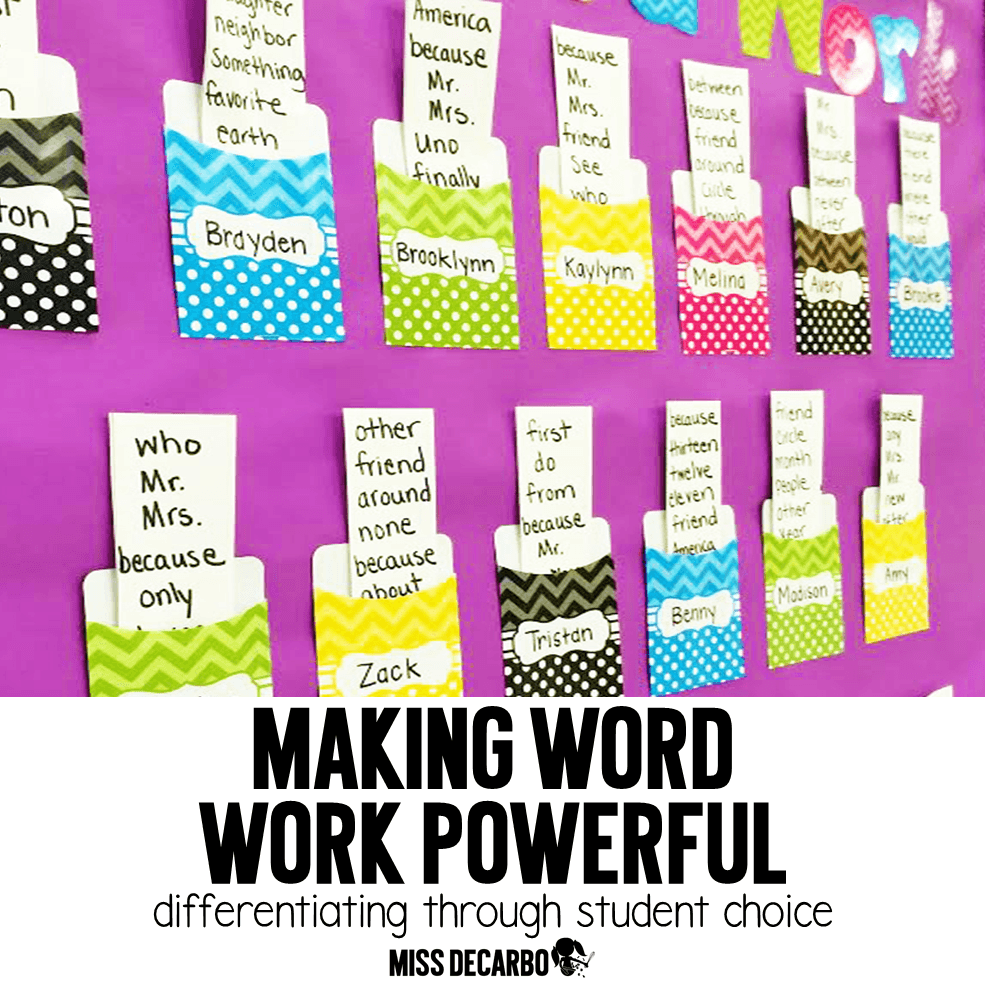 Workout Words: Differentiating Word Work: The Power Of Student Choice