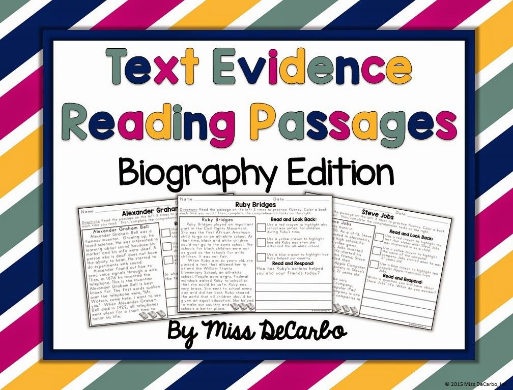 Text Evidence Reading Passages: BIOGRAPHY Edition! - Miss DeCarbo