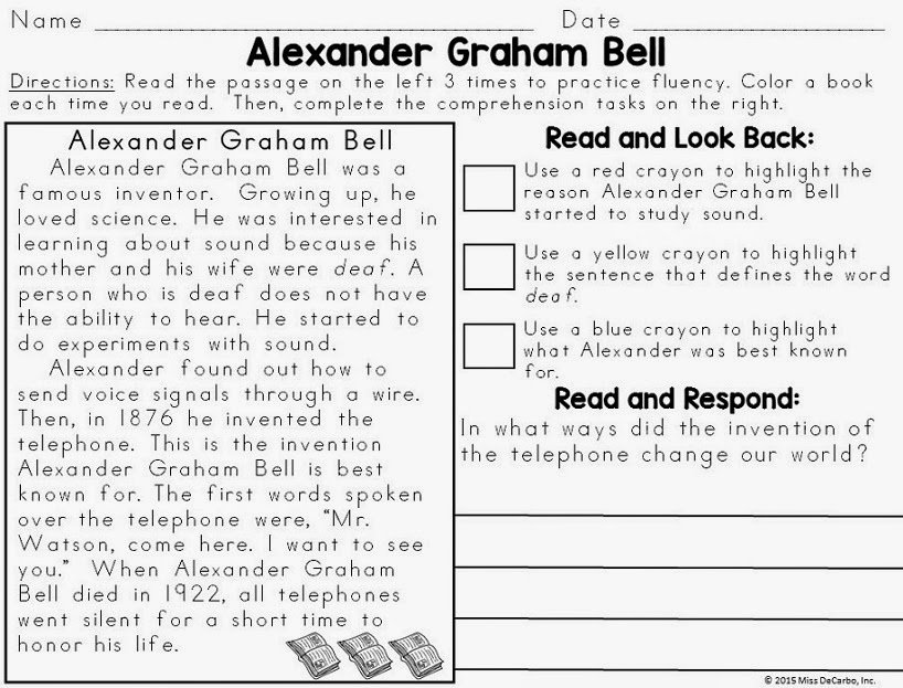 Text Evidence Reading Passages BIOGRAPHY Edition Miss DeCarbo – First Grade Reading Worksheet
