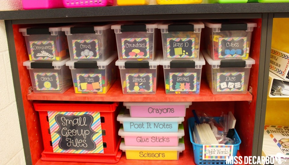 TONS of classroom organization and storage tips and photographs. Find storage and classroom organization tips and pictures for word work, math manipulatives, the classroom library, the lost and found bin, and more! Grab FREE word work storage labels, too! -by Miss DeCarbo