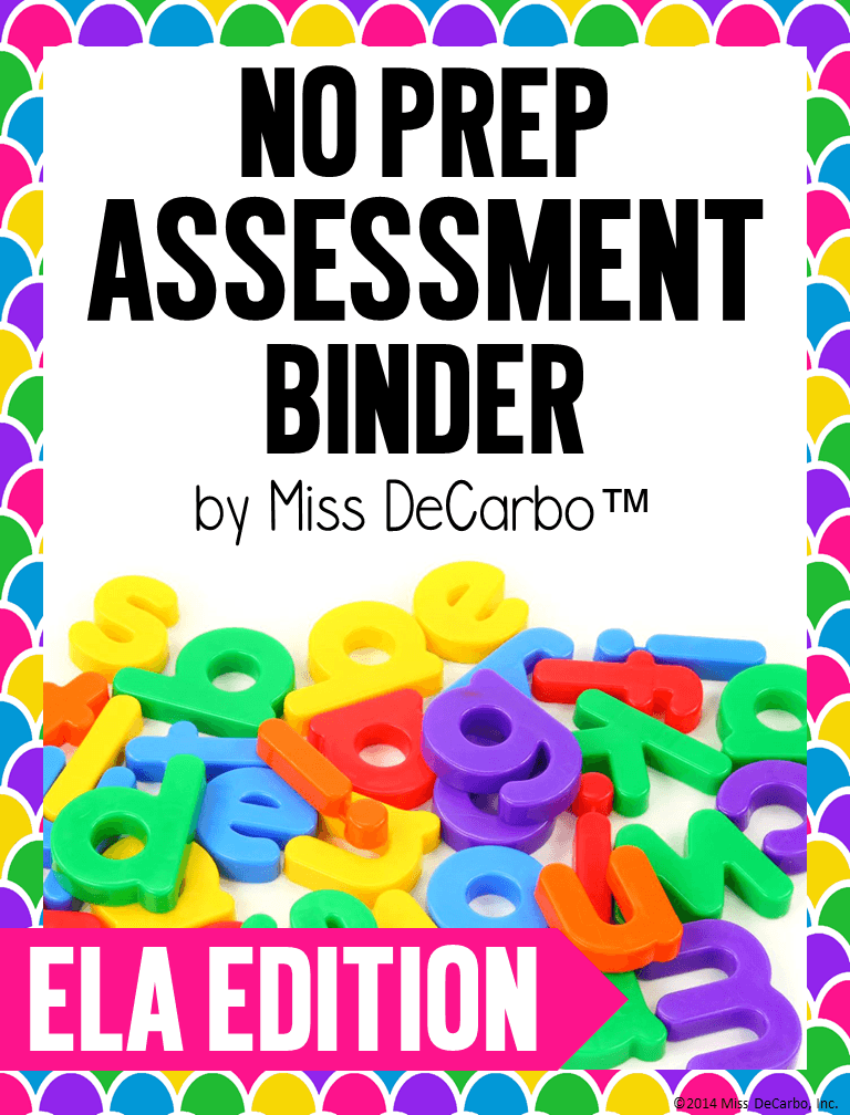 ELA No Prep Assessment Binder for kindergarten, first grade, and second grade readers. This is great to use to collect data for literacy and small groups, RTI, tutoring, and one on one intervention.