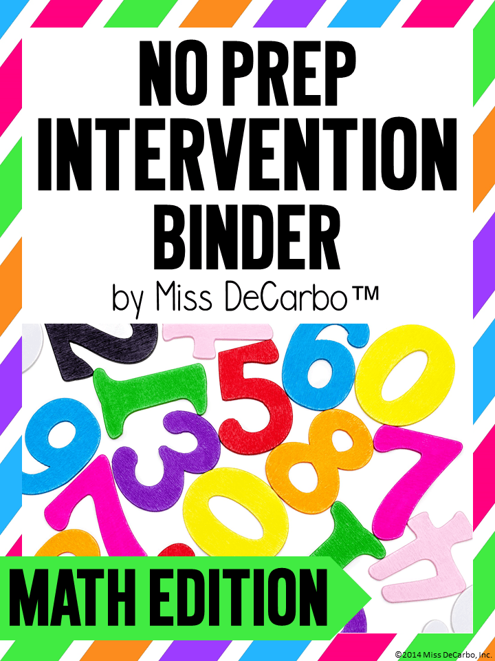 Math Intervention Binder for intervention ideas, resources, and activities. This binder is great for teachers, volunteers, and intervention specialists