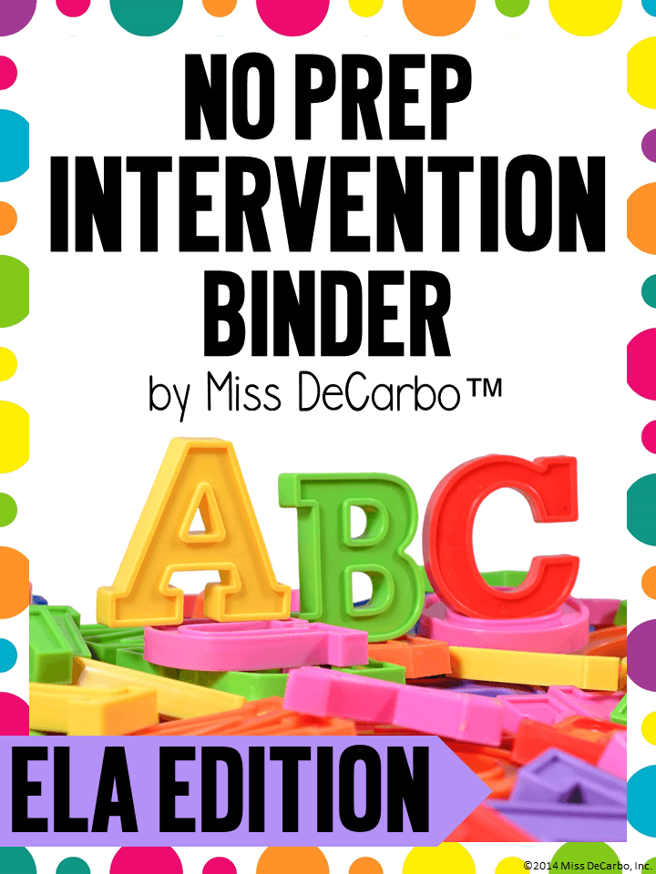 No Prep Reading Intervention Binder