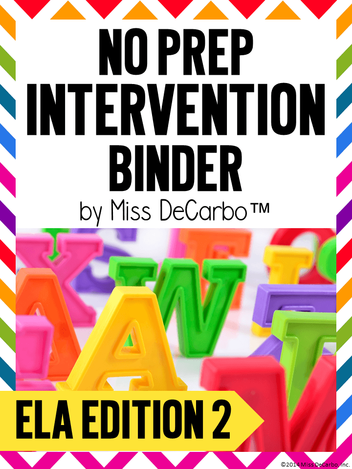 No Prep Intervention Binder ELA Edition 2 by Miss DeCarbo: Activities and strategies for kindergarten, first grade, and second grade phonics and reading intervention
