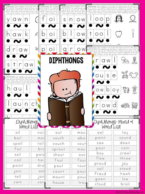 diphthongs  - No Prep Reading Intervention Binder ELA Edition 2: Packed with phonics and fluency activities, ideas, resources, printables, and word lists for small groups, RTI, one on one intervention and instruction, and literacy groups. Great for teachers, volunteers, and intervention specialists. Tons of reading intervention ideas and strategies by Miss DeCarbo!
