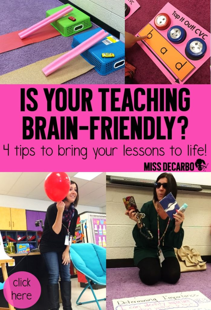 4 Tips for Brain Friendly Teaching! Learn how to make your lesson plans engaging, relevant, concrete, and visual! TONS of activities, ideas, and resources for your primary classroom.