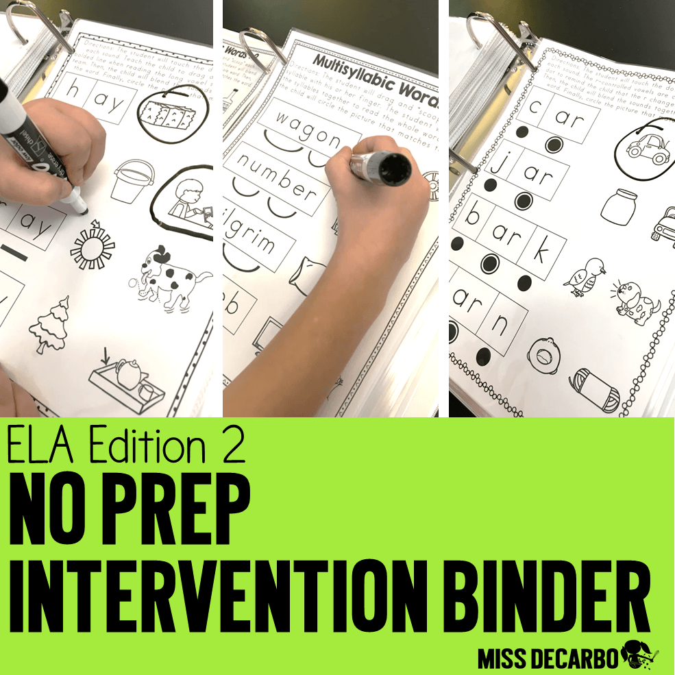 long vowels, silent e, r-controlled vowels, vowel teams, diphthongs, and fluency intervention! No Prep Reading Intervention Binder ELA Edition 2: Packed with phonics and fluency activities, ideas, resources, printables, and word lists for small groups, RTI, one on one intervention and instruction, and literacy groups. Great for teachers, volunteers, and intervention specialists. Tons of reading intervention ideas and strategies by Miss DeCarbo!