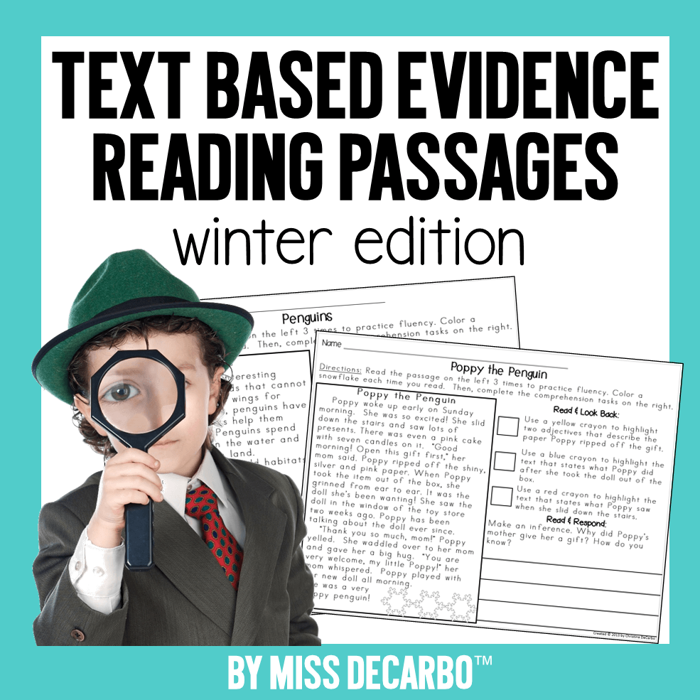Text Evidence Reading Passages