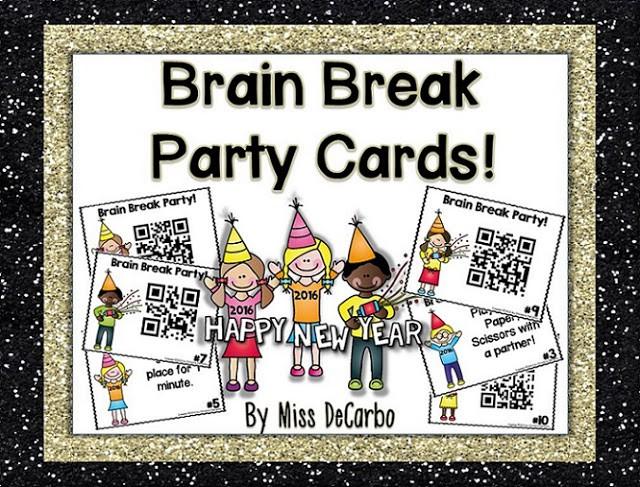 Updated FREEBIE Brain Break Cards & Celebration Sale