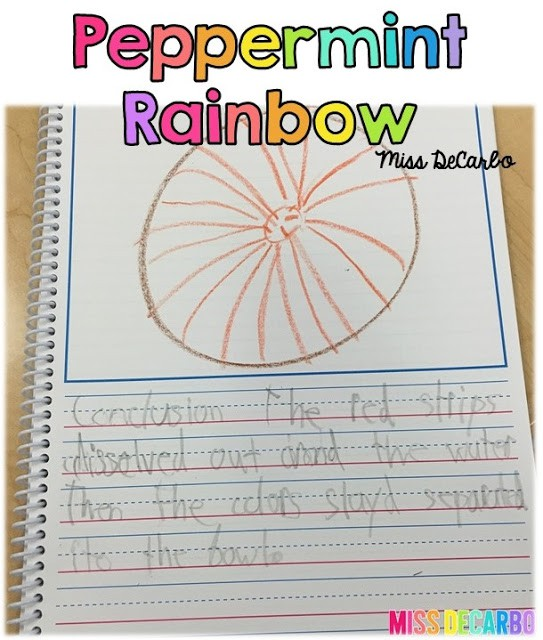 An easy, fun science experiment that uses peppermint candy! Students will hypothesize and draw conclusions about their peppermint rainbow. A comprehension printable song is also included in this blog post, as well as a fun little Christmas game for oral language! Lots of great FREE ideas in this post by Miss DeCarbo!