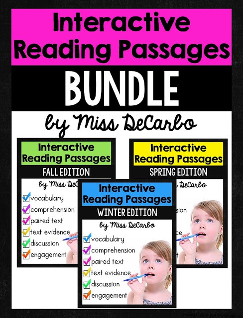 FREE interactive reading passage sample to try out in your small groups. Interactive reading passages focus on vocabulary, comprehension questions, text evidence, context clues, and fluency!