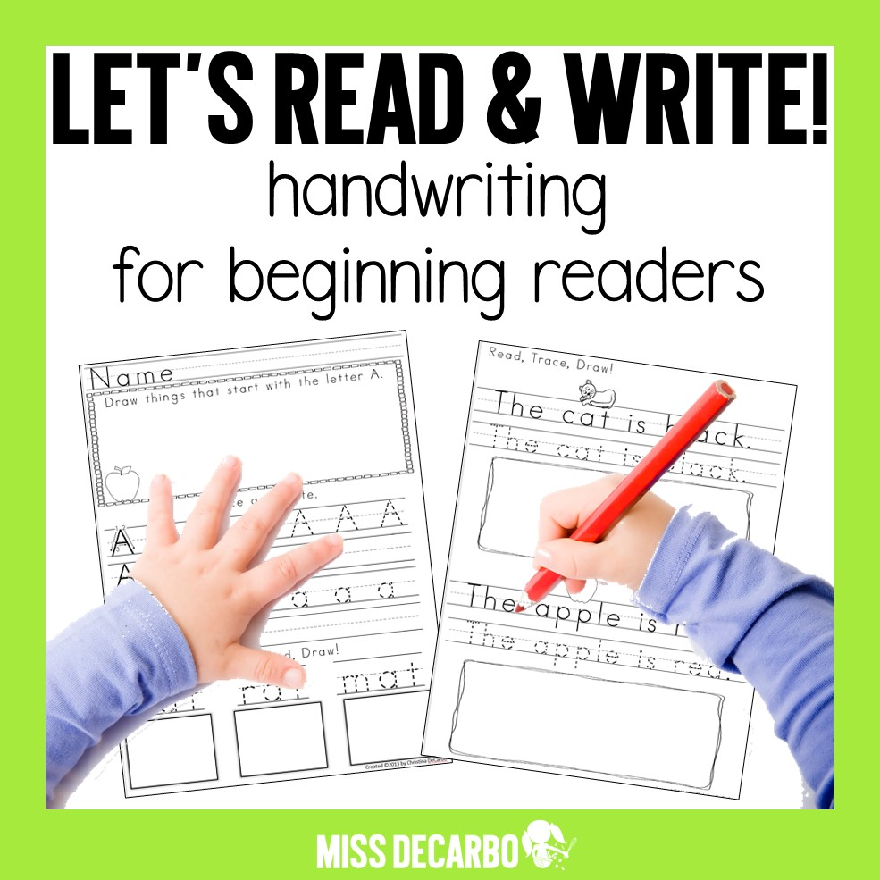 Handwriting pack for beginning readers and writers. This resource combines handwriting practice with beginning reading skills. Each sentence has a visual aide and the students will draw, trace, write, illustrate, and read the sentence!