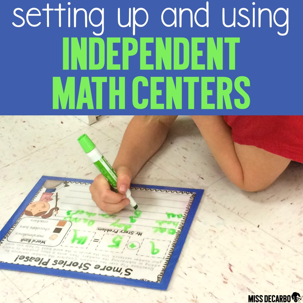 How to set up independent math centers for primary students. Learn how independent math centers fit into the math workshop routine. Get two FREE math games to try out!