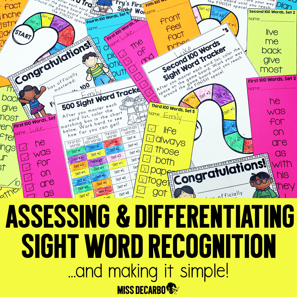 Assessment and Differentiation for Sight Word Recognition: Organization ideas to make sight word assessment and practice simple and easy for teachers AND students! These sight word activities are student-friendly and help students master the first 500 Fry sight words!