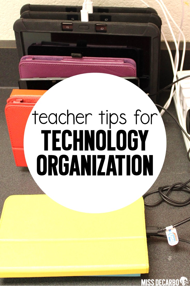 5 Teacher Tips for Technology Organization for classroom tablets, technology rules, and technology organization