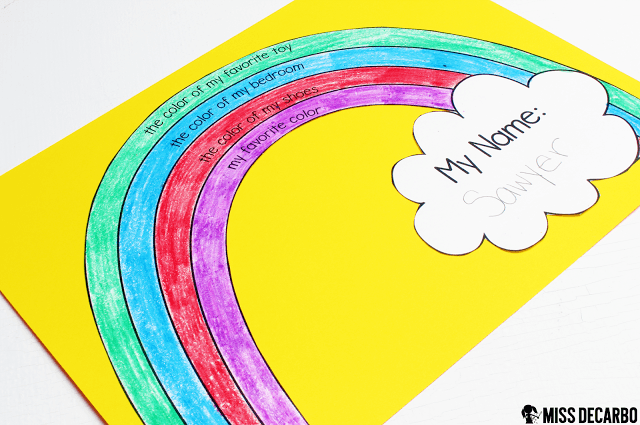 All About Me rainbow craftivity - This post contains a BIG collection of fun and engaging activities, lessons, and ideas for the first week of school! - by Miss DeCarbo