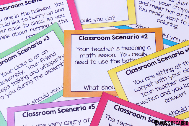 Classroom Scenario Cards for Character Education, Rules, and Expectations: This post contains a BIG collection of fun and engaging activities, lessons, and ideas for the first week of school! - by Miss DeCarbo