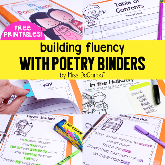 Building Fluency With Poetry Binders (Free Printables)