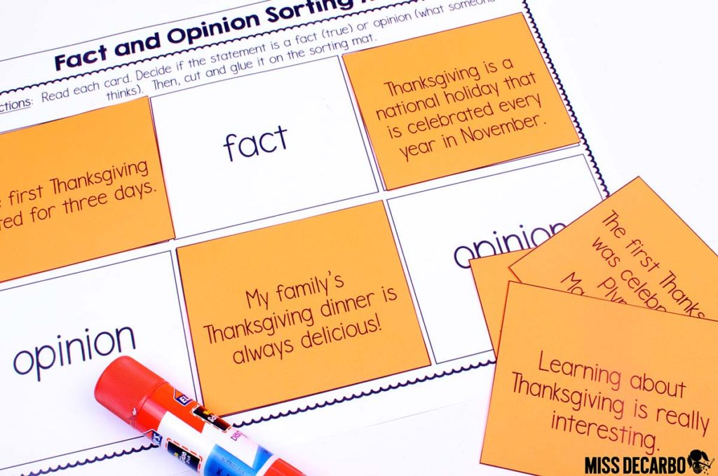 Thanksgiving Fact and Opinion freebie activity by Miss DeCarbo