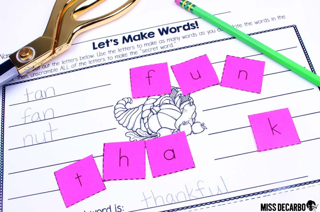 "Thanksgiving Word Work Activity: FREE - Students build as many words as they can with the provided letter cards. Unscrambling ALL of the letters reveals the ""secret word!"" This activity is perfect for a word work center, literacy center, morning work, or as a small group activity for kindergarten through second grade students."