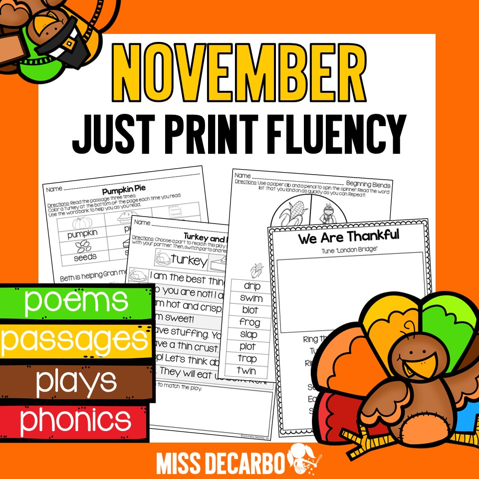Just Print Fluency activities and printables for Thanksgiving and November