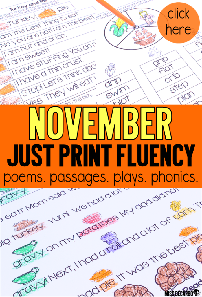November fluency activities: Just Print passages, partner plays, poems and songs, and phonics spinners that are perfect for the small group table!