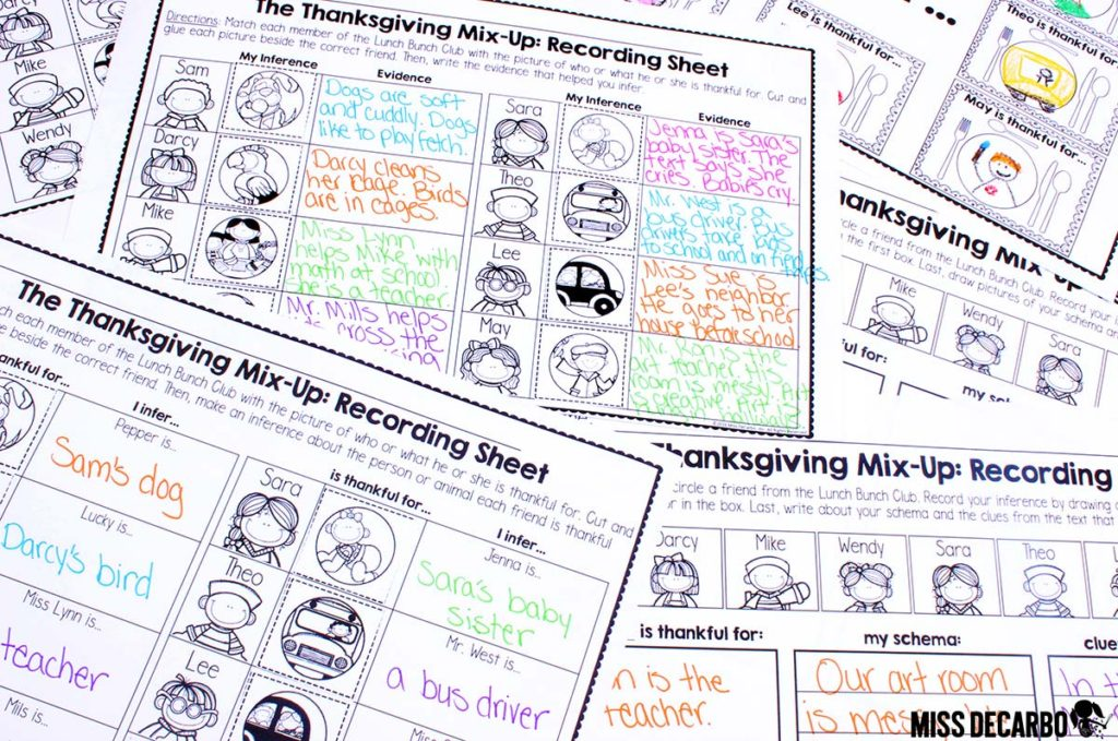 Thanksgiving inference resource - really FUN literacy activities and lessons to complete with your students. It includes differentiated recording sheets, a writing extension activity, inference riddle task cards, and more!
