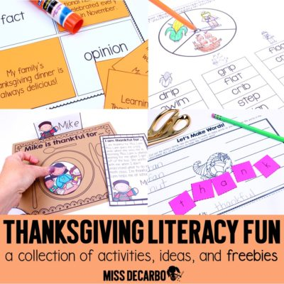 Thanksgiving literacy activities, ideas, freebies, and fun by Miss DeCarbo