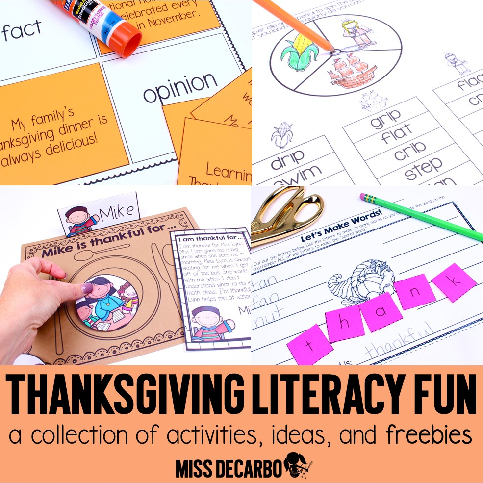 Thanksgiving Literacy: Activities, Ideas, and Freebies