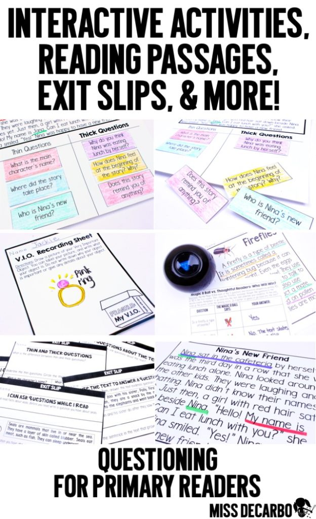 Kid-friendly ideas and lessons to teach questioning skills to primary readers. In this blog post, Miss DeCarbo shares activities, objects, FREEBIES, picture books, and anchor charts to make this reading strategy come to life. These reading and comprehension ideas are differentiated for kindergarten to second grade learners.