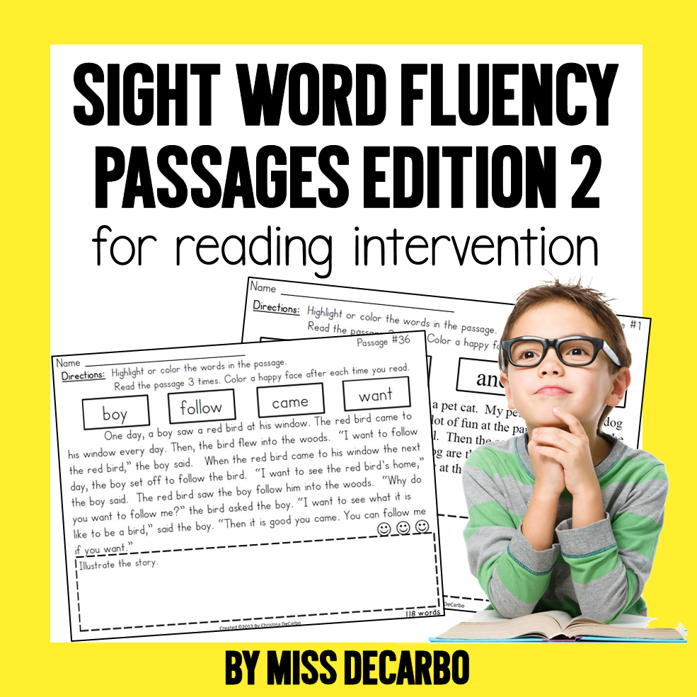 Sight Word Fluency Passages Edition 2 reading intervention by Miss DeCarbo