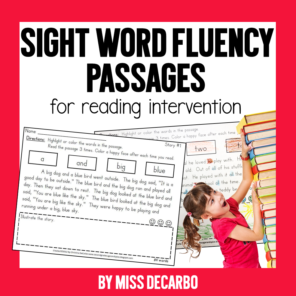 Sight Word Fluency Passages for Reading Intervention by Miss DeCarbo