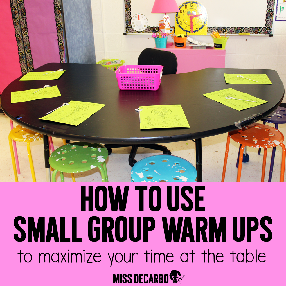 Small Group Warm Ups for the small group table