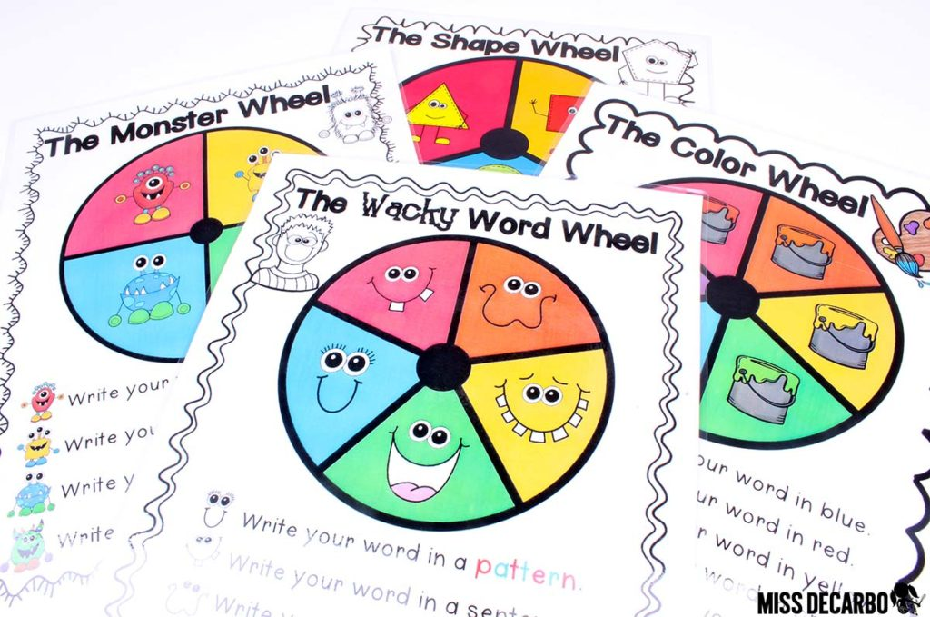 Word Work Wheels for sight word spelling practice - 20 Word Work Ideas for Sight Word Spelling Practice (with freebies!)