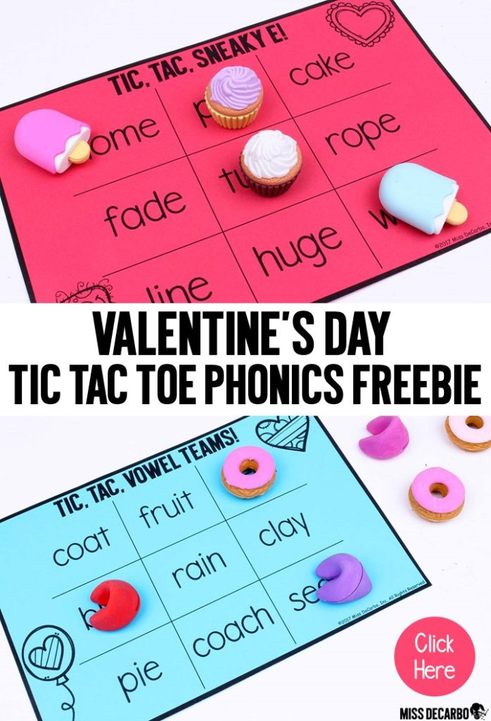 FREE Valentine's Day word work activities and games! Miss DeCarbo shares a FREE word building activity pack, three different Tic Tac Toe phonics games (cvc words, sneaky e words, and vowel teams), and a list of four ways to add Valentine's Day touches to the small group reading table.
