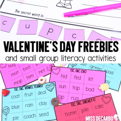Valentine's Day Small Group Literacy Freebies