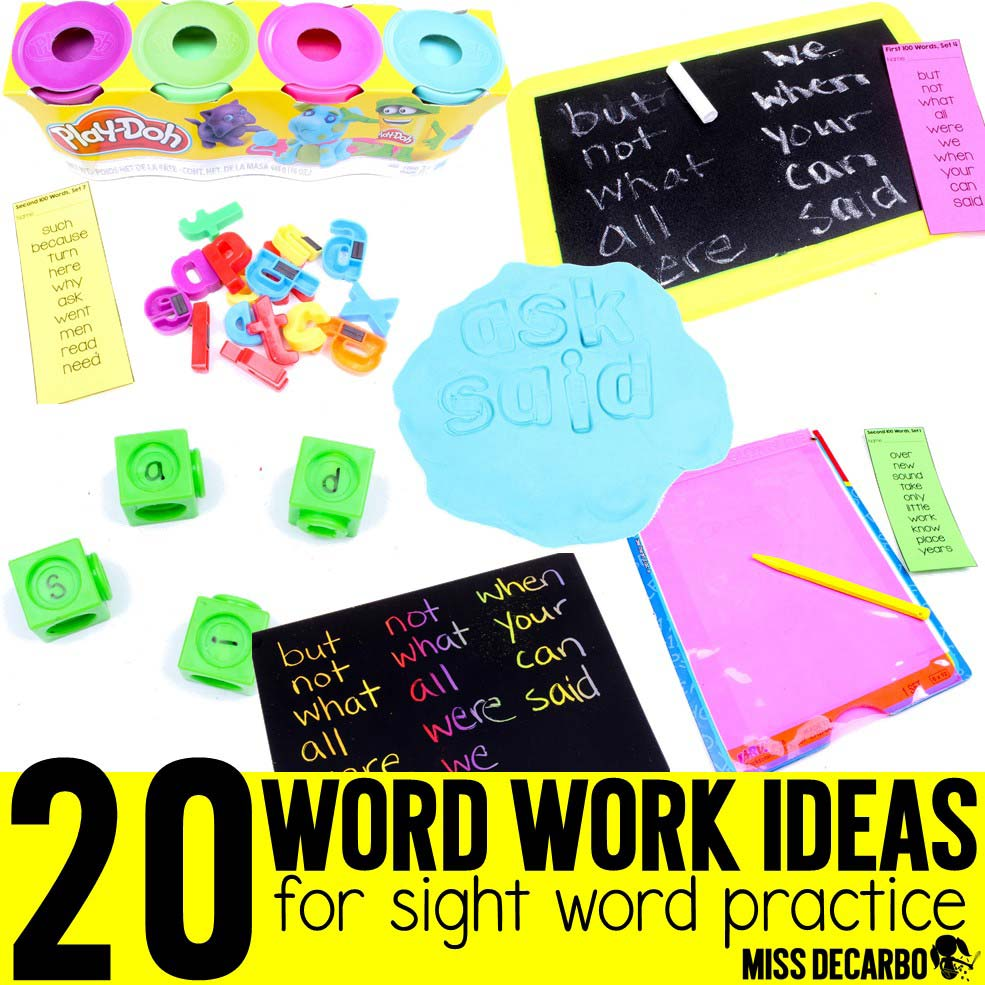 Word Work Ideas for Sight Word Spelling - Miss DeCarbo