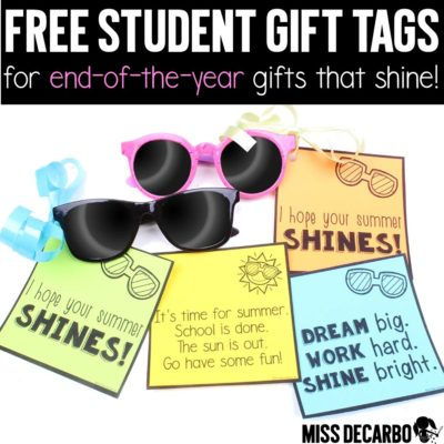 FREE end of the year gift tags for sunglasses or glow sticks! Three versions in black and white and color are included! These gift tags are perfect for teachers to use with their student gifts!