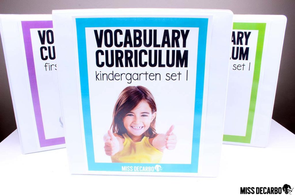 a year long kindergarten vocabulary curriculum with lesson plans, read aloud books, digital books, word play, assessments, and more!