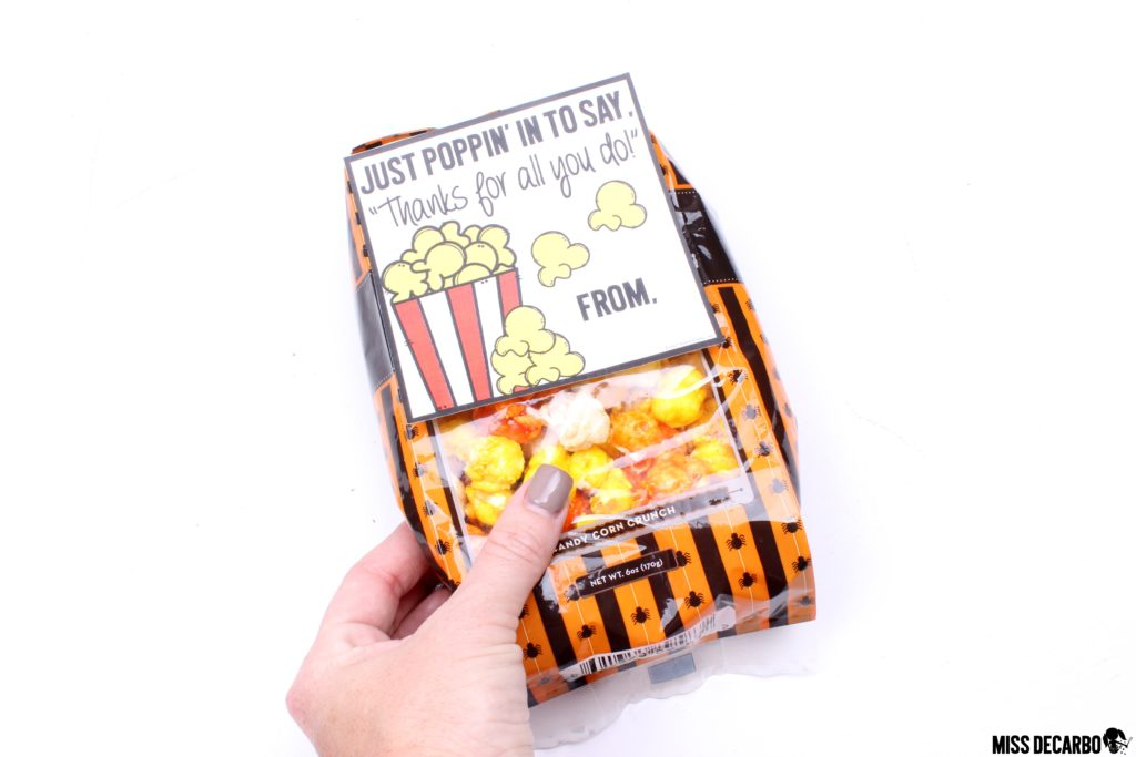 picture regarding Thanks for Popping by Free Printable known as Popcorn Present Tags - Miss out on DeCarbo