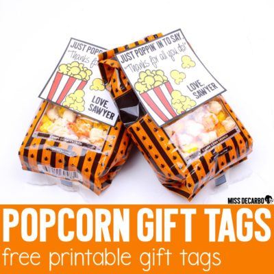 free printable gift tags with a popcorn theme- These are great to attach to gifts for co-workers, daycare and preschool teachers, volunteers, etc.