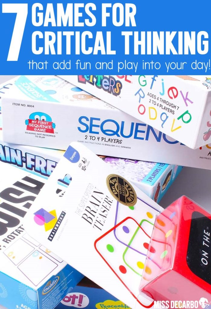 7 fun games for the classroom that promote critical thinking and problem solving skills. These games are great for literacy and math centers, morning tubs, indoor recess, and small groups!