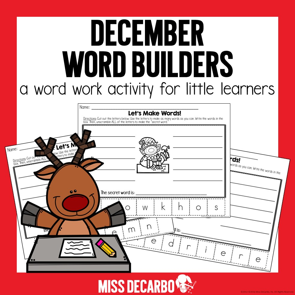 Five FREE word work Christmas worksheets to use for a word work center or small group activity.