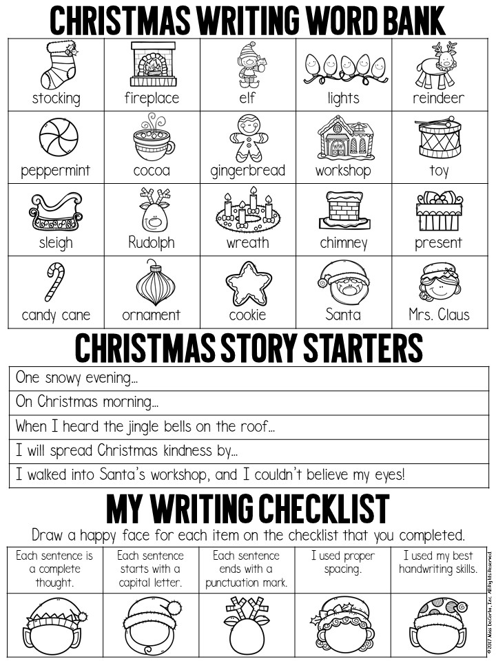 Get this FREE Christmas writing printable to use in your kindergarten, first grade, or second grade classroom! It features a Christmas word bank, Christmas writing prompts and story starters, and a writing checklist for editing!